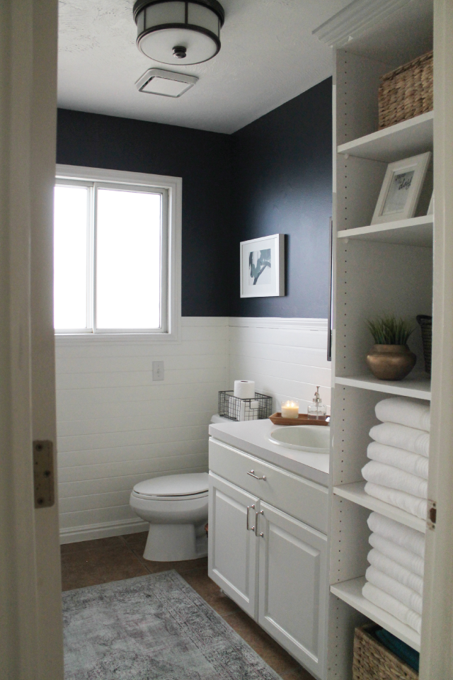 Half Bath Afters Navy Bathroom Decor Navy Bathroom White
