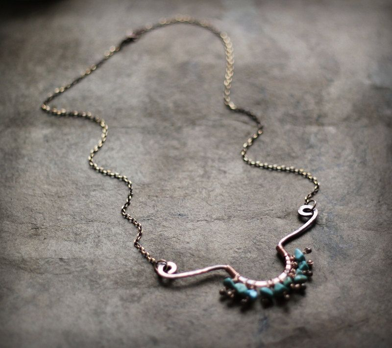 Copper and Turquoise Necklace Tribal Copper Necklace by Triballa
