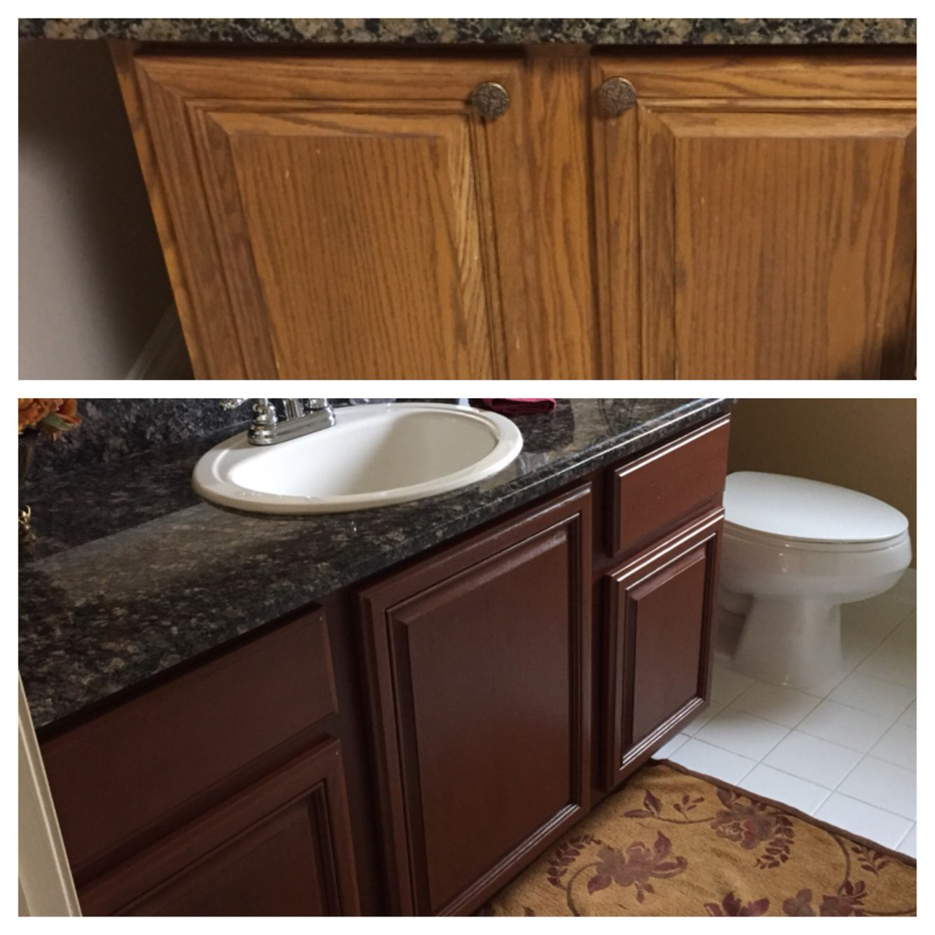 Kitchen Transformation Before And After: Top Pic Before Color. Bottom Pic After Using Rustoleum