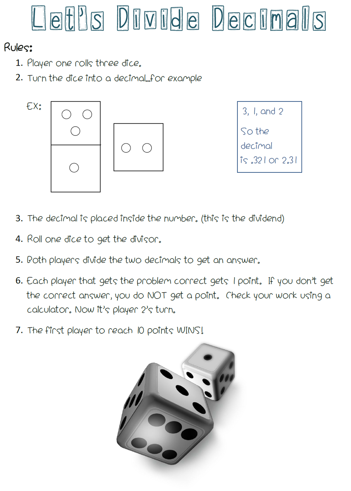 A Free Math Center Game For Dividing Decimals All You Need Is Dice