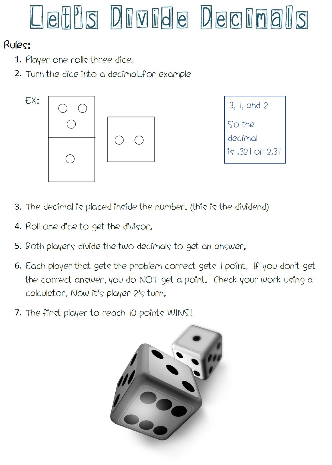 A Free Math Center Game For Dividing Decimals All You