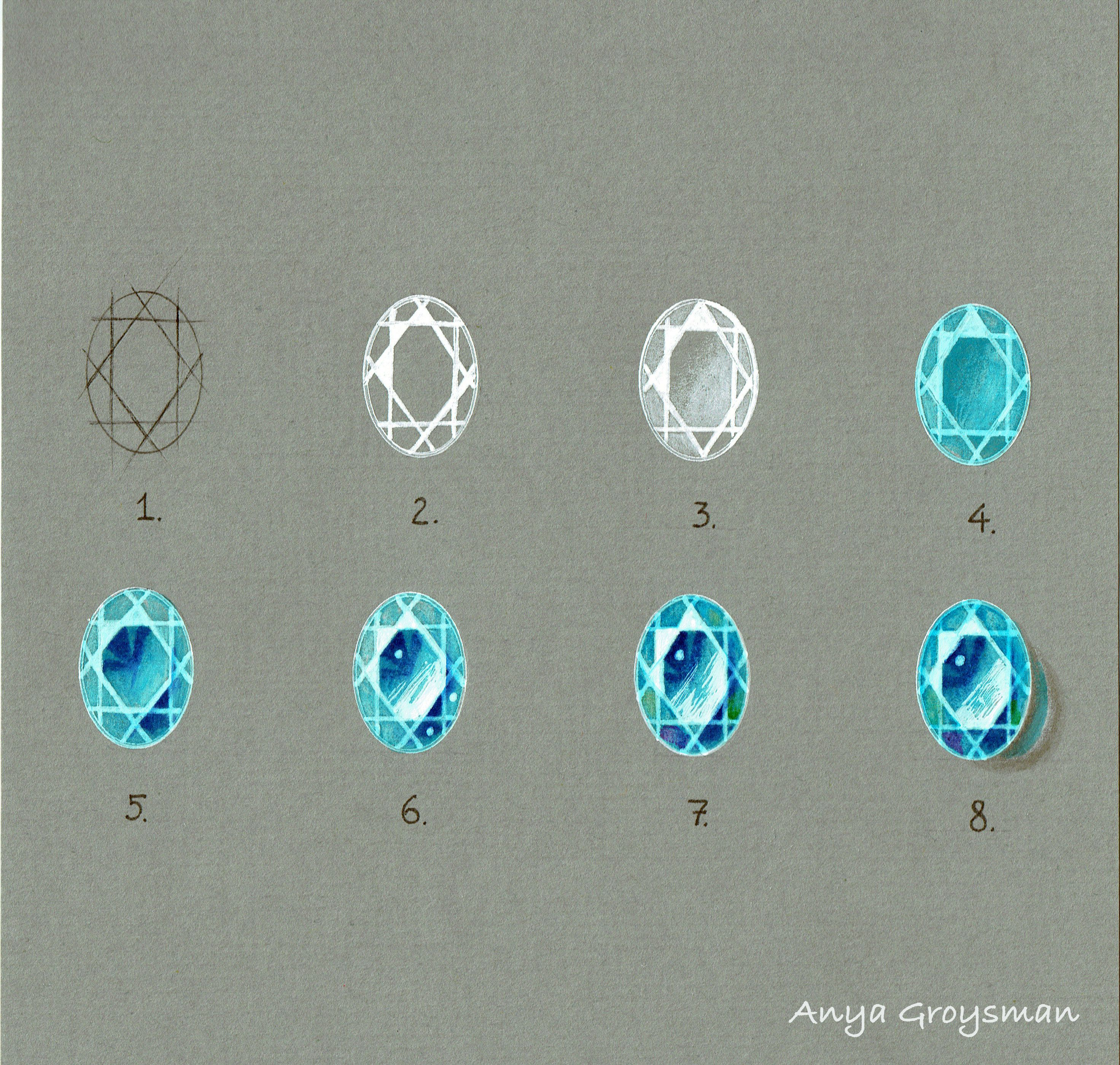 Drawing gemstones with Anya Groysman | sketches | Jewelry ...