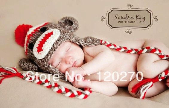 Free shipping crochet red tan sock monkey hat knitted baby boys free shipping crochet red tan sock monkey hat knitted baby boys cotton cap newborn animal pattern dt1010fo