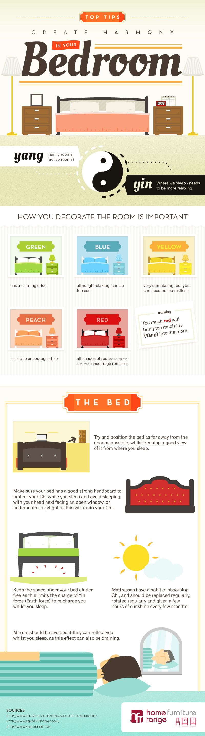 tips to feng shui in your bedroom | feng shui, infographic and