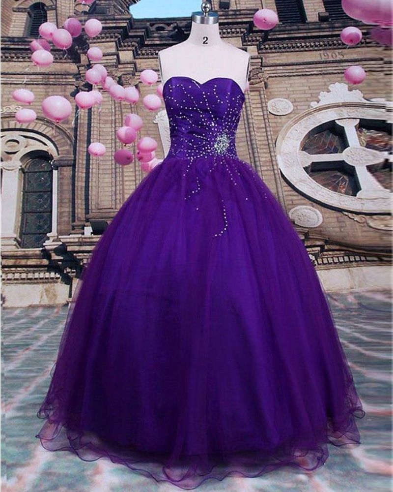 2016 Sexy Purple Beads Quinceanera Dresses Ball Gown For 15 Prom ...