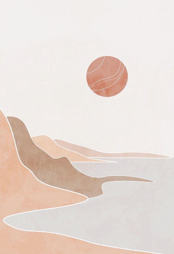 Boho modern terracotta ocean poster, landscape drawing, boho beach print, mid century painting, abst