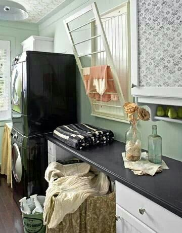 Laundry room.  Drying rack by Ballard Designs.