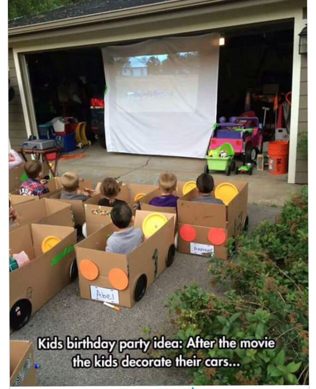 Cardboard Box Drive In Movie Theater Kids Birthday Party Cardboard Car Drive In Movie