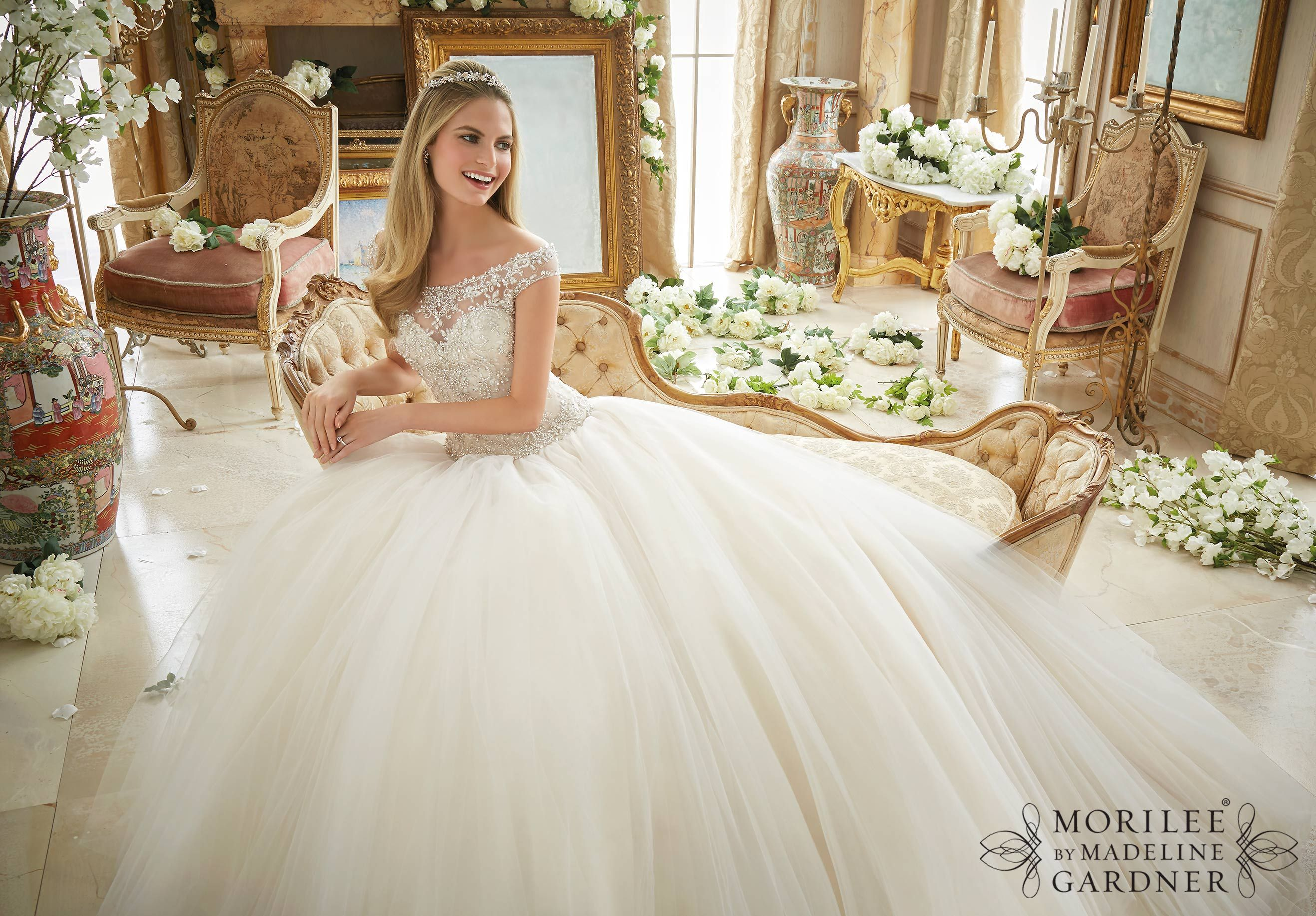 Mori lee madeline gardner wedding dress  Wedding Dress  Crystal Beaded Embroidery on Tulle Ball Gown