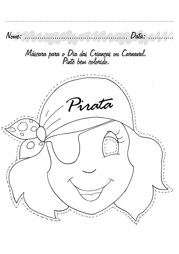 Pirate girls mask | piratas | Pinterest | Piratas, Máscaras y Colorear