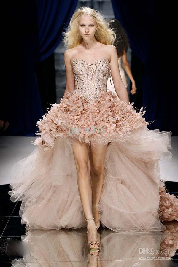 high-low short front long back zuhair murad wedding dress feather