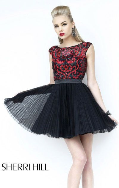 Sherri Hill 21167 - Black and Red Open Back Prom Dresses Online