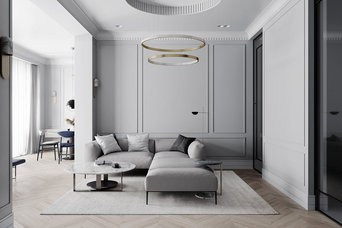 Grey Based Neoclassical Interior Design With Muted Metallic