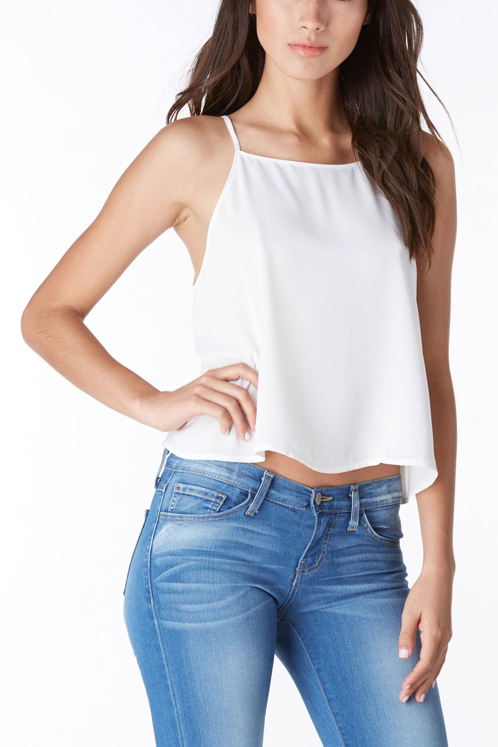 9dbdce8c942bef An easy-to-wear cropped high-neck line, spaghetti strap tank top! Pair with  cute denim and accessorize with danity jewels #trendy