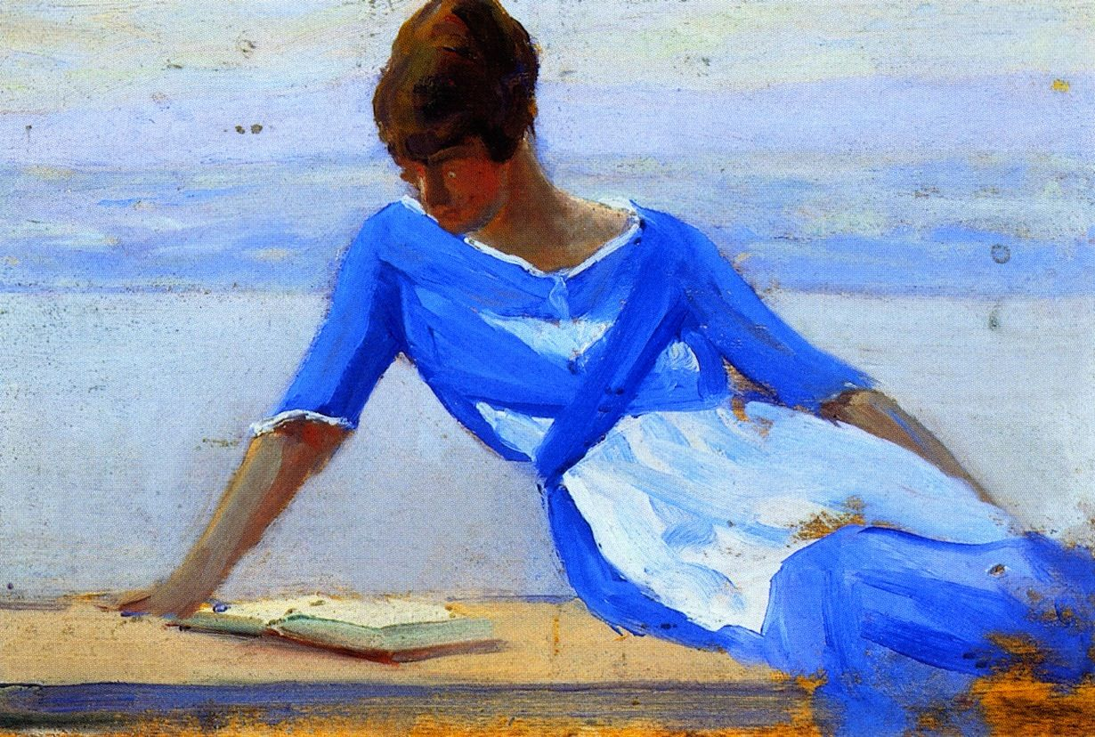 """Clarence Gagnon (1881-1942) - """"The Painter's Young Wife, Île d'Orléans,"""" 1919"""