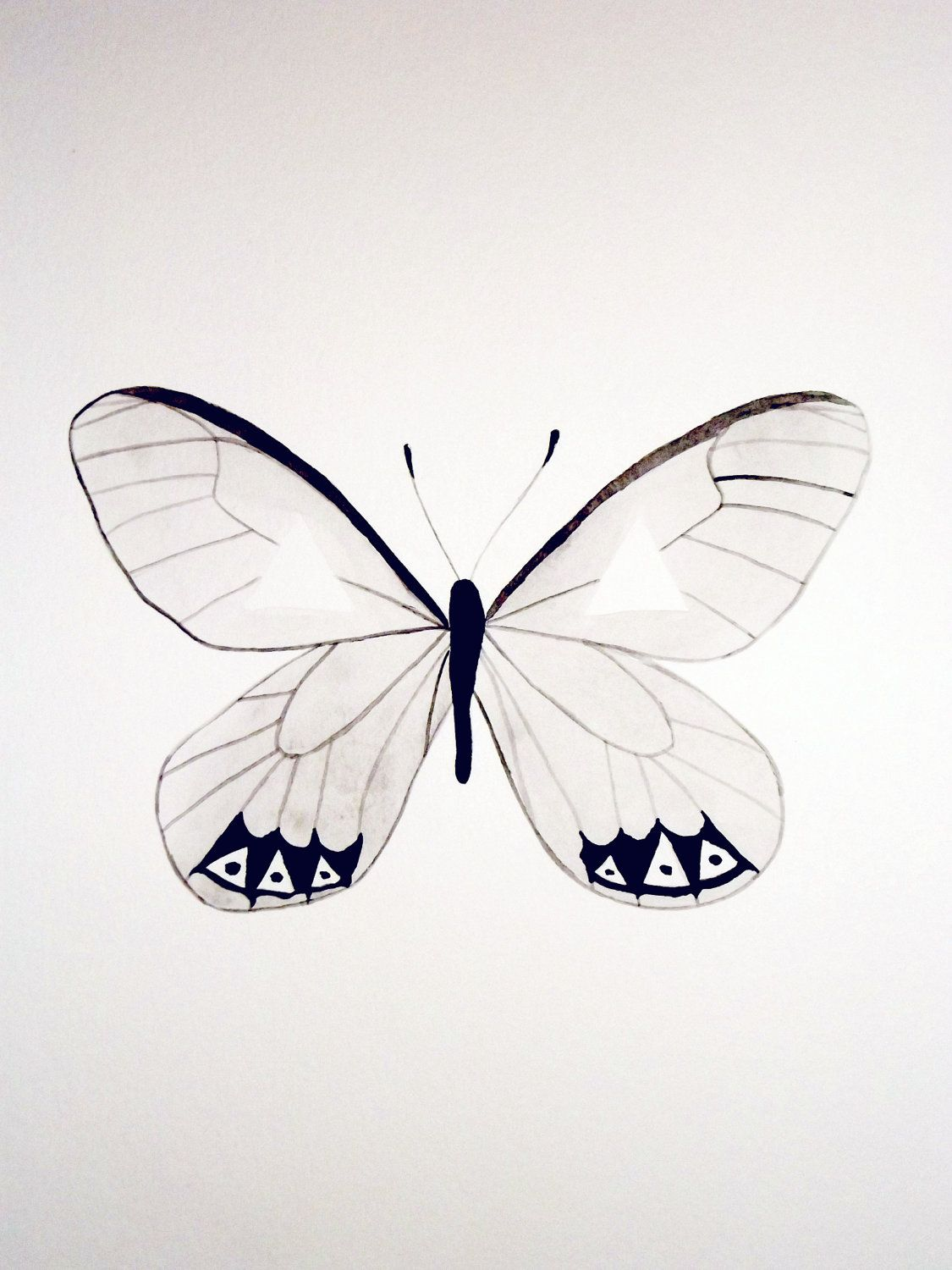 Watercolor Butterfly Gray Black White Original Artwork