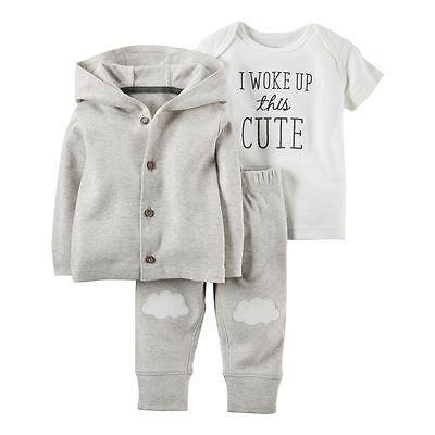 0264df33e Carters Newborn 3 6 9 12 Months Cardigan Pants Set Baby Boy Girl ...