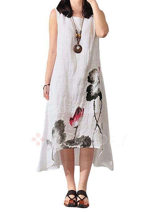Chinese Style Floral Round Neckline Midi Shift Dress Floryday Vestidos De Mujer Vestidos De Lino Ropa