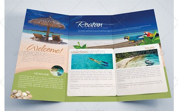 Beach TriFold Best Travel Brochure  Zox Design  Brochure