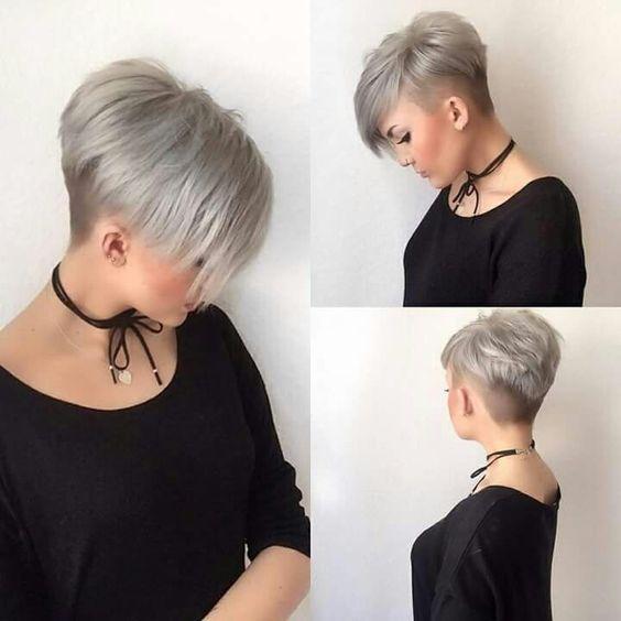 Coupe de cheveux courts gris femme