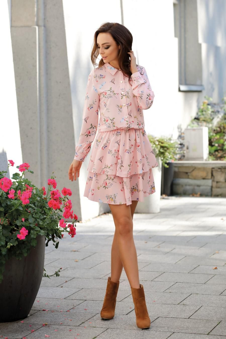 Koszulowa Sukienka Z Kolnierzykiem Rozowa W Kwiatki Lel281 Dresses Flounce Hem Dress High Fashion Trends