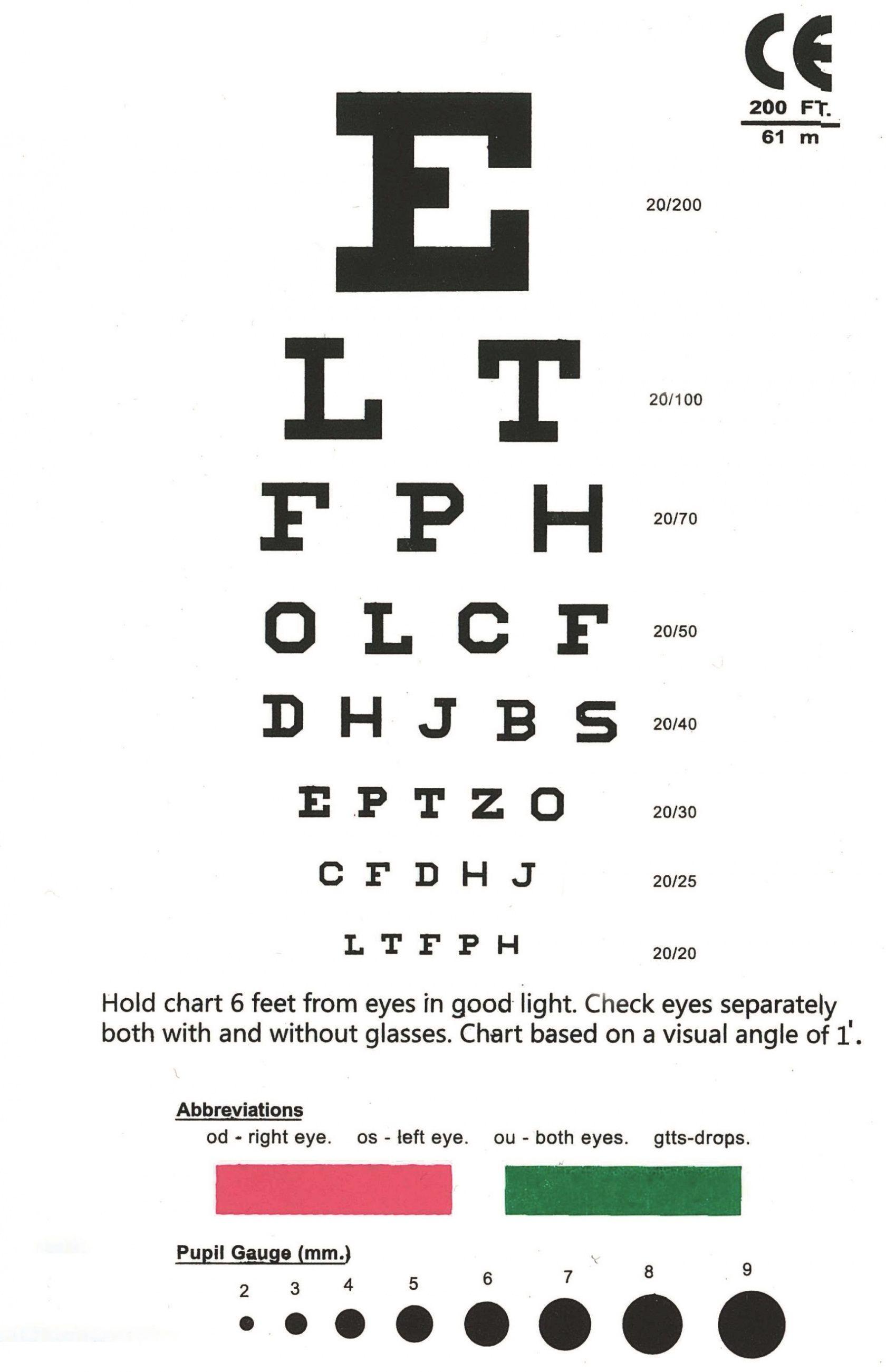 picture regarding Rosenbaum Chart Printable called Printable Pocket Visible Acuity Chart - Eye chart snellen