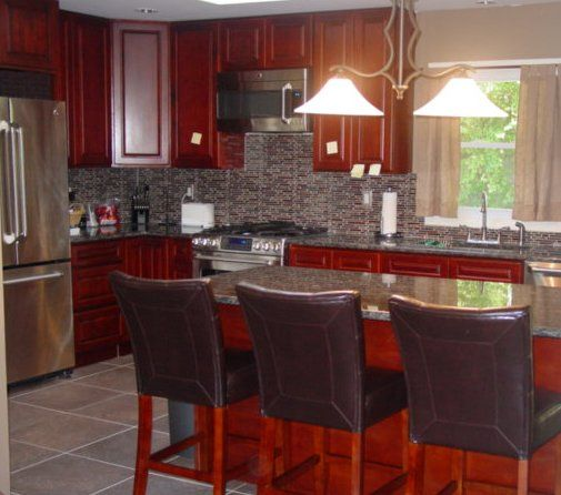Kitchen Backsplash Cherry Cabinets: Our Kitchen: Cherry Cabinets With Sapphire Blue Granite