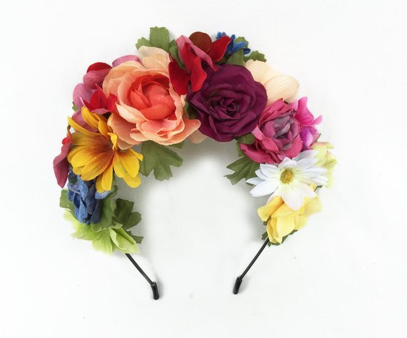 Day Of The Dead Headpiece Frida Headpiece Mexican Flower Crown Kahlo Floral Headband Floral Cro Mexican Flowers Floral Headbands Red Flower Crown