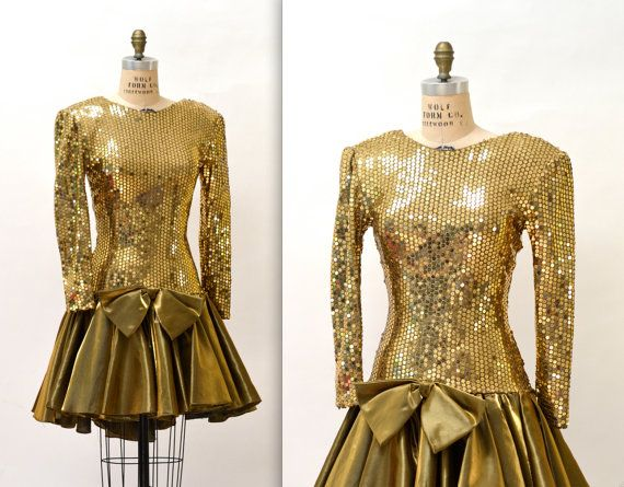 80s Metallic Prom Dress With Gold Sequin By Hookedonhoney