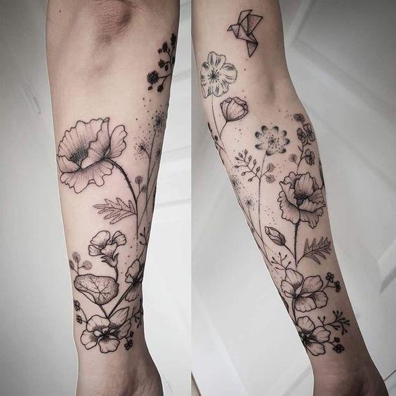 Blumen und Kräuter Tattoo / Kräuter und Blumen Tattoo #Tat…  #diytattooimages - diy tattoo images