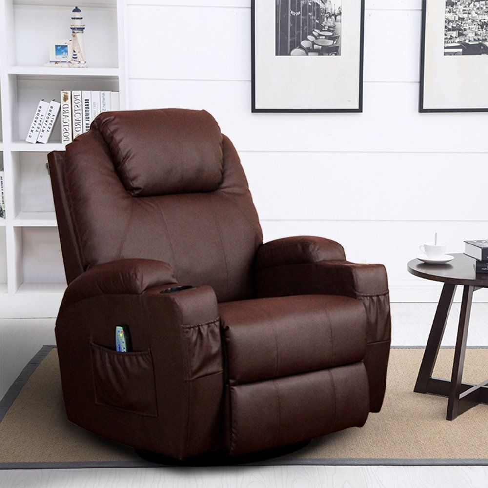 360 Degree Swivel Massage Recliner Leather Sofa Chair
