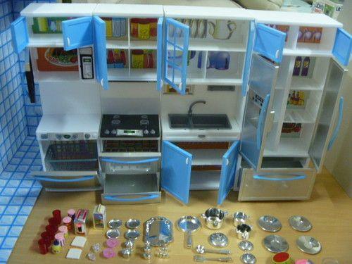 Modern Comfort Barbie Kitchen re ment Cabinet Size Dollhouse Furniture Lightable | eBay