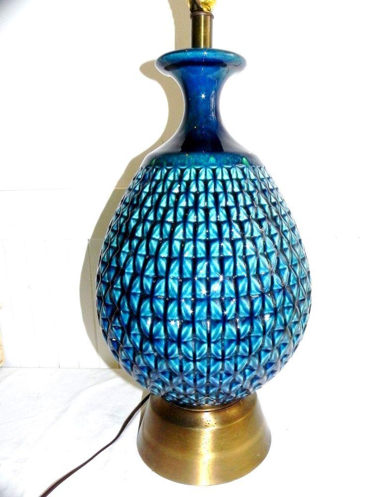 "Vintage Mid Century Danish Modern Ceramic Table Lamp Turquoise Green & Blue 32"""