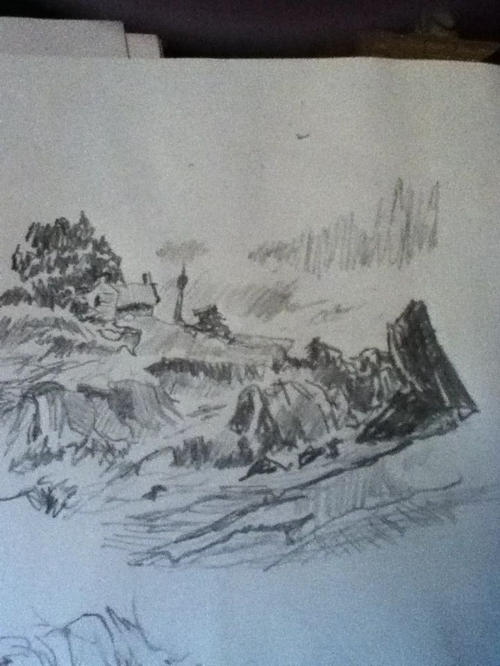 Coast of maine in pencil me pencil sketch art