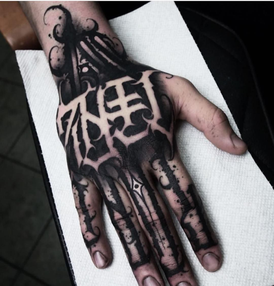 Sick Hand Tattoo Done By The Artist Abis One Hand Tattoos Hand Tattoos For Guys Full Hand Tattoo