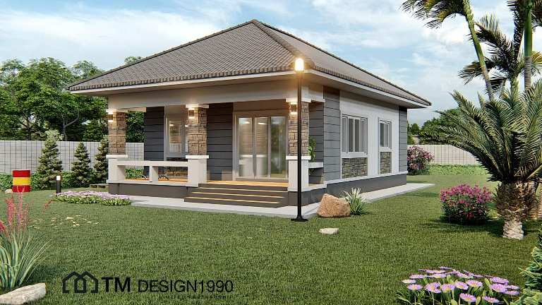 Amazing Two Bedroom Bungalow With Pyramid Hip Roof House And Decors In 2020 House Roof Hip Roof Design Hip Roof