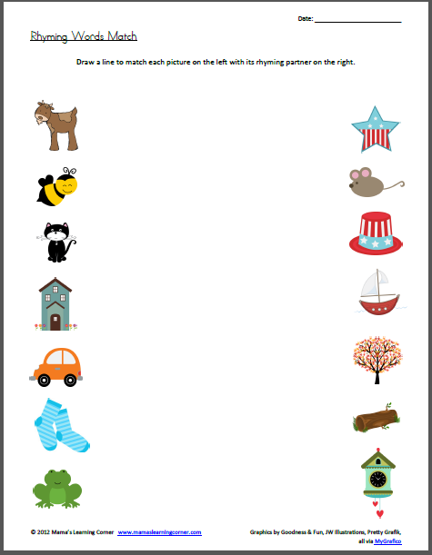 Rhyming Words Match Worksheet Or Object Matching Idea