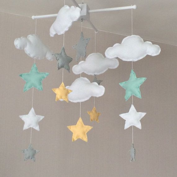 GroBartig Baby Mobile   Cot Mobile   Clouds And Stars   Cloud Mobile   Nursery Decor    Pastel Baby Mobile   Mint, Grey And Yellow