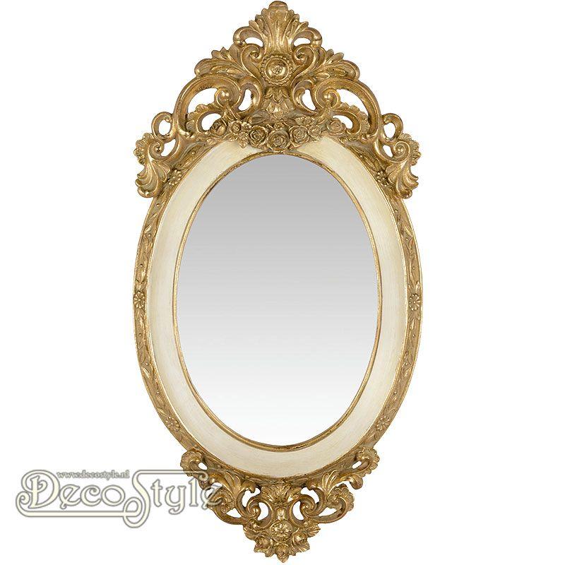 Barok spiegel roses goud wit aan de boven en onderzijde for Barok spiegel