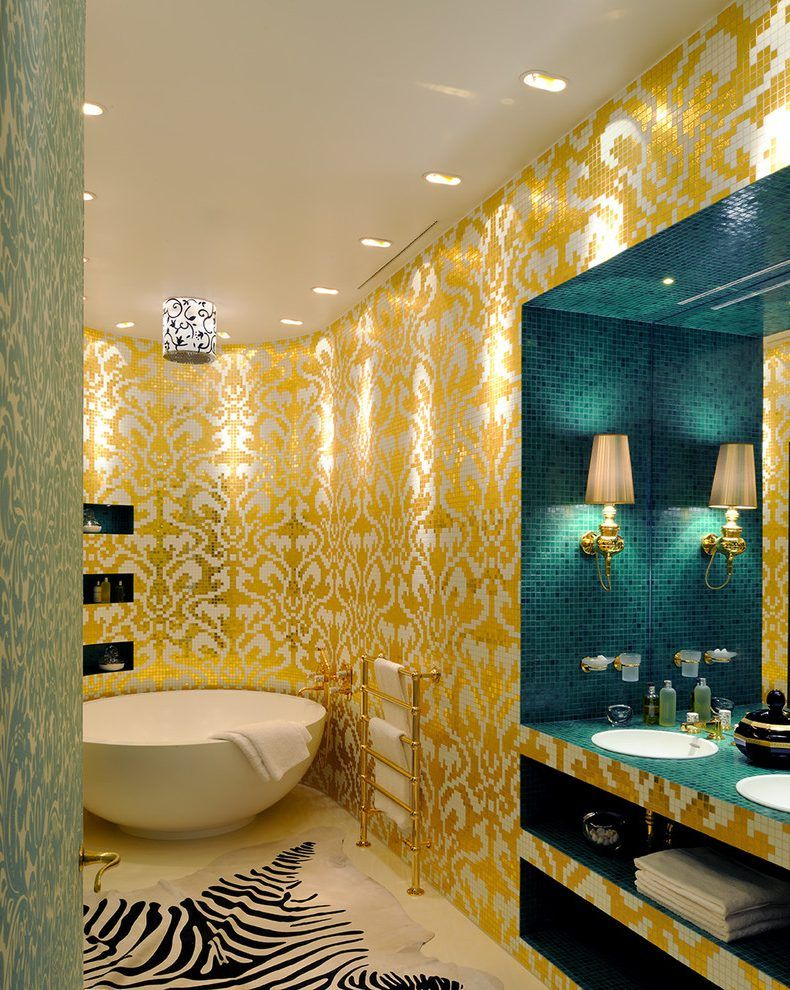 Colorful bathroom in yellow and blue with mosaic tiles, a white