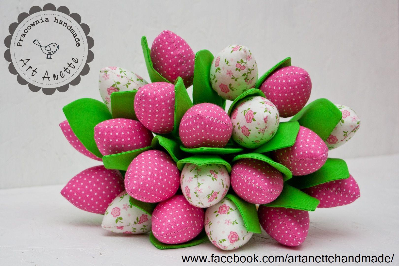 Tulipany Tulipany Z Materialu Kwiaty Z Materialu Bukiet Tulipanow Fabric Flowers Easter Eggs Easter Kaba