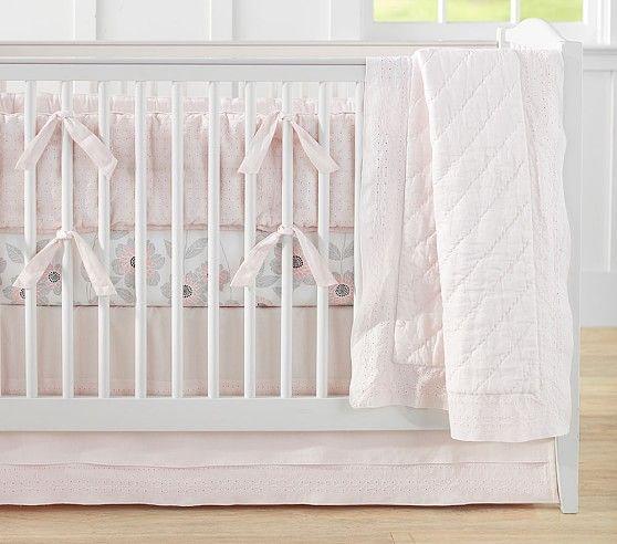 Belgian Flax Linen Eyelet Baby Bedding Girl Nursery Bedding