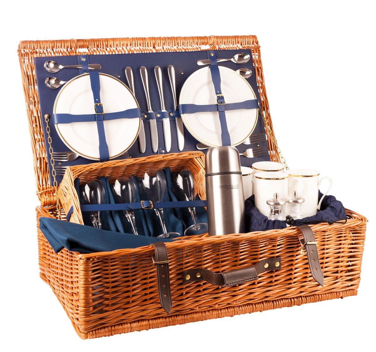 The Ascot Luxury Picnic Hamper – 4 place settings in blue