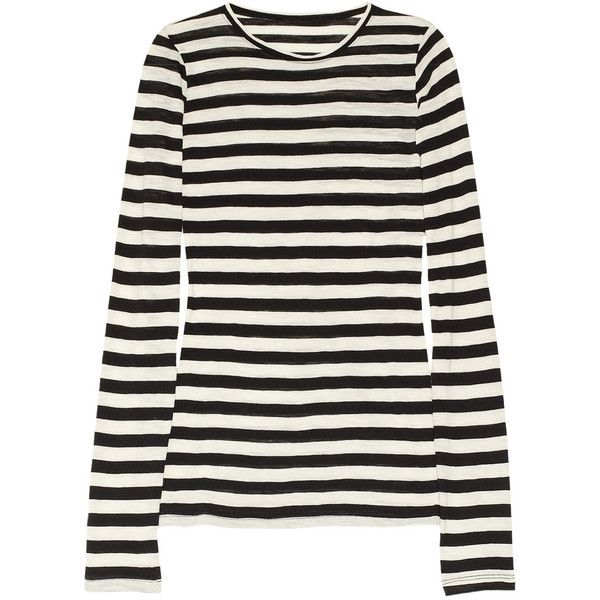 Proenza Schouler Striped cotton slub-jersey top ($280) ❤ liked on Polyvore