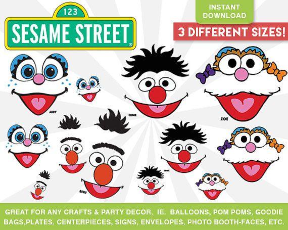 Sesame Street Faces Cut Outs Instant Download Ernie Bert