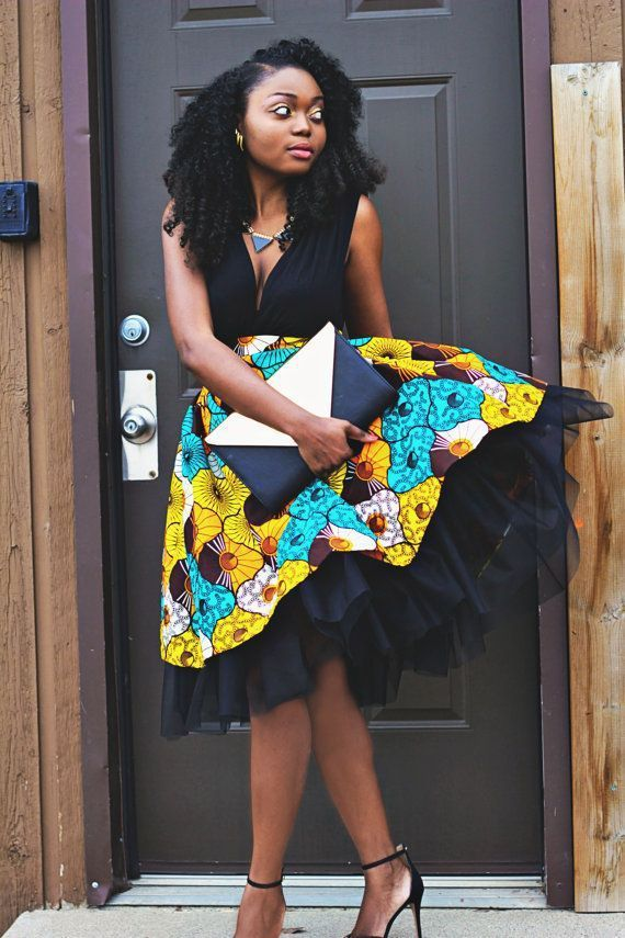 Jupon en tulle : Ankara African Wax Print High Waist Tulle Gather Skirt #afrikanischerdruck Jupon en tulle : Ankara African Wax Print High Waist Tulle Gather Skirt #afrikanischerdruck