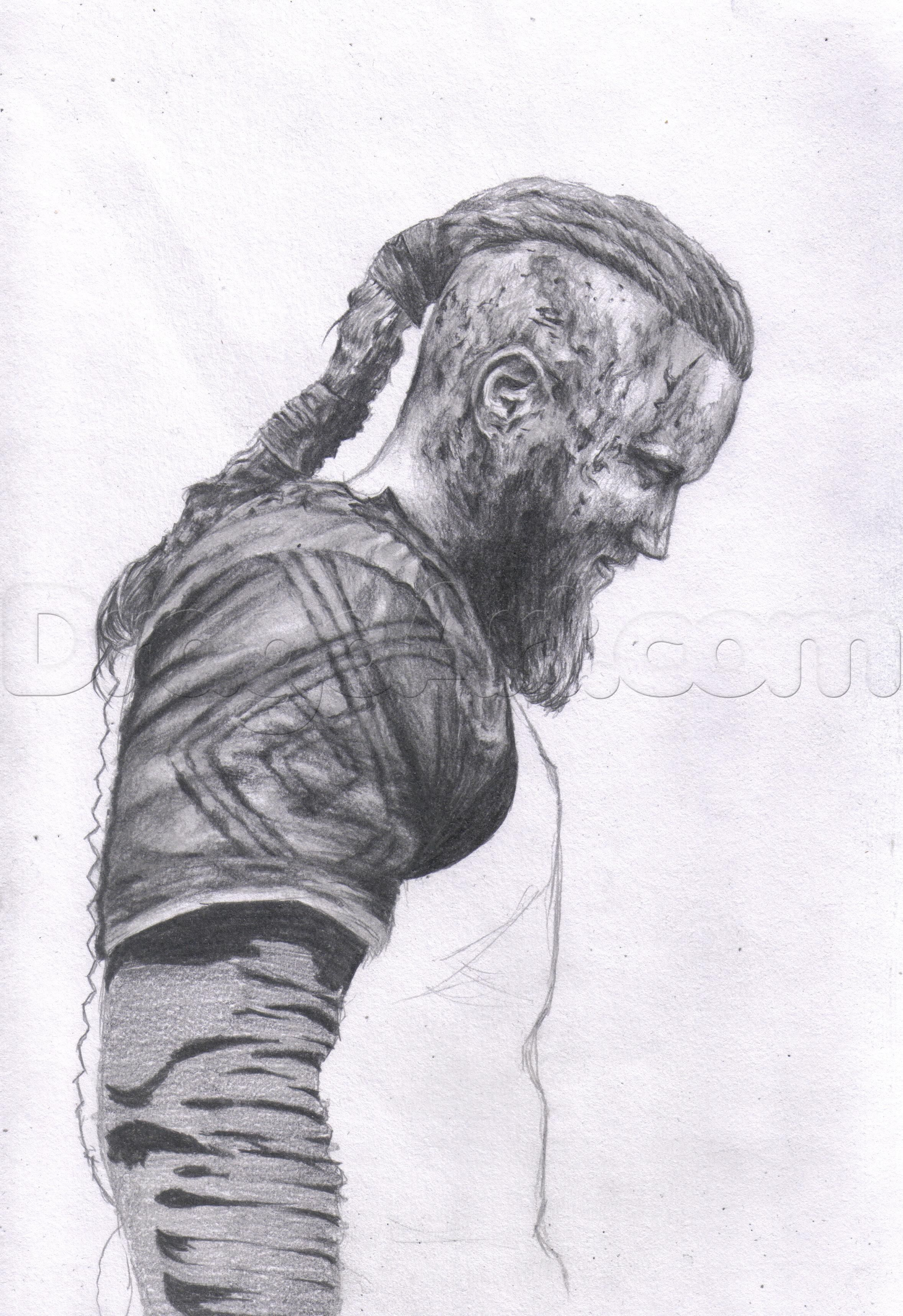 How To Draw Ragnar Lothbrok From Vikings Step 14