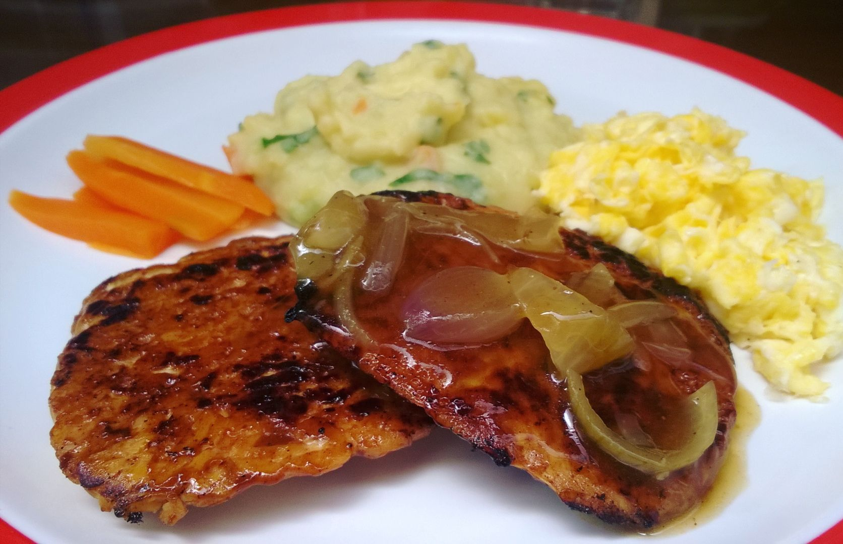 Grilled Tempe With Scrambled Eggs Mashed Potato And Vegetable