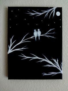 Black and white acrylic painting canvas art love birds silhouette wall decor  also best images  drawing ideas diy rh pinterest
