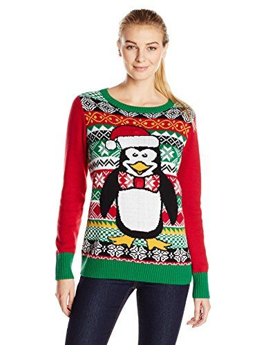 Ugly Christmas Sweater Womens Penguin Light Up Crew Christmas